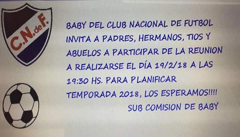 Baby Futbol de Nacional de Cardona Invita para planificar TEMPORADA 2018