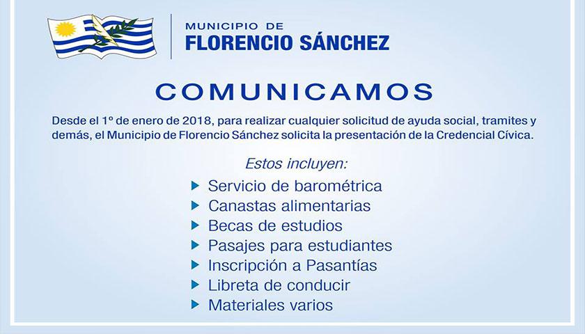 Comunicado de Municipio de Florencio Sanchez Dpto Colonia