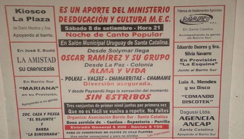 Mañana sábado 8 gran fiesta de Canto Popular en la localidad de Sta Catalina
