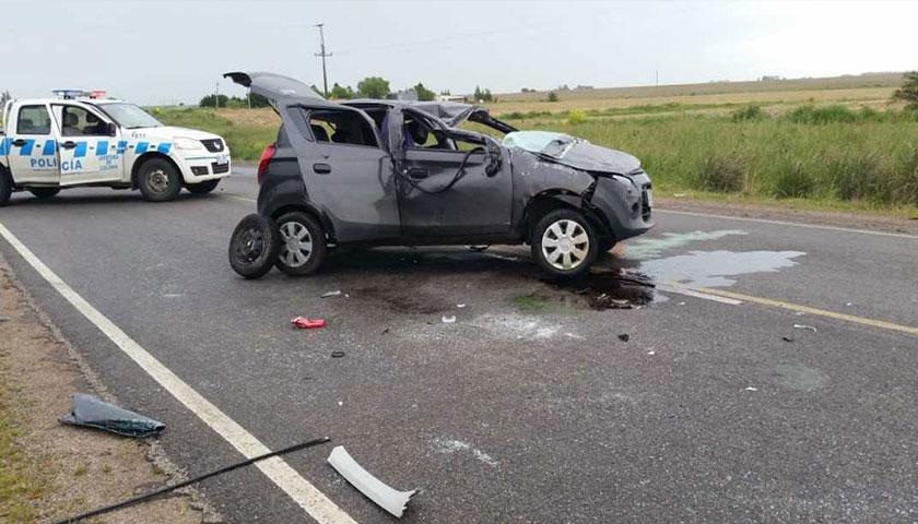 Siniestro de tránsito en Ruta 55 con daños totales en vehículo y conductora politraumatizada