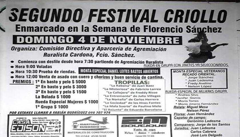Gran festival el 4 de noviembre en predio de la Rural de Fcio Sánchez