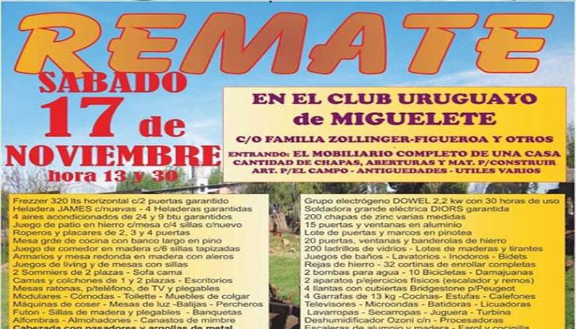 Gran Remate este sábado en Miguelete