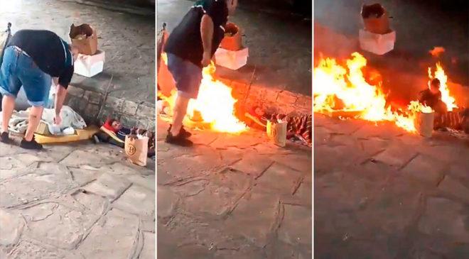 Como no quieren ver indigentes en la calle, los prenden fuego (filmaron el ataque y huyeron)